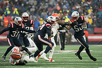 FOXBOROUGH, MA - OCTOBER 27: New England Patriots Linebacker Dont'a Hightower #54 recovers a fumble behind Cleveland Browns Guard Justin McCray #67 who blocks New England Patriots Linebacker Jamie Collins #58 during a game between Cleveland Browns and New Enlgand Patriots at Gillettes on October 27, 2019 in Foxborough, Massachusetts.