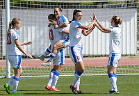 20180307 - LARNACA , CYPRUS :  Czech team pictured celebrating the quick 0-1 lead during a women's soccer game between  Slovakia and the Czech Republic , on Wednesday 7 March 2018 at the GSZ Stadium in Larnaca , Cyprus . This is the final game in a decision for 9 th or 10 th place of the Cyprus Womens Cup , a prestigious women soccer tournament as a preparation on the World Cup 2019 qualification duels. PHOTO SPORTPIX.BE   DAVID CATRY
