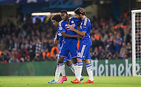 Celebrations as a Aleksandar Dragovic of Dynamo Kiev (Dynamo Kyiv) Own Goal gives Chelsea a 1-0 lead during the UEFA Champions League Group G match between Chelsea and Dynamo Kyiv at Stamford Bridge, London, England on 4 November 2015. Photo by Andy Rowland.