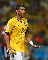 Thiago Silva of Brazil tells his players to calm down