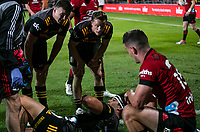 Bryn Gatland, Brad Weber and Jonah Lowe with Crusaders fullback Will Jordan during the 2021 Super Rugby Aotearoa final between the Crusaders and Chiefs at Orangetheory Stadium in Christchurch, New Zealand on Saturday, 8 May 2021. Photo: Joe Johnson / lintottphoto.co.nz