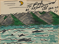 BNPS.co.uk (01202) 558833. <br /> Pic: Bonhams/BNPS<br /> <br /> Pictured: One of Ali's artworks included in the sale, 'moon over mountains' sold for £7000<br /> <br /> Packs a punch..<br /> <br /> Incredibly rare art work by Muhammad Ali has sold for almost £700,000 ($945,000) following a bidding war.<br /> <br /> The legendary heavyweight boxer was a passionate artist and produced a series of works documenting key milestones in his life.<br /> <br /> They proved a knock-out success with collectors, with some examples going for up to 10 times their pre-sale estimate.