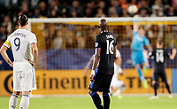 CARSON, CA - SEPTEMBER 21: Rod Fanni #16 of Montreal Impact and Zlatan Ibrahimovic #9 of the Los Angeles Galaxy watch a ball get tipped over the goal during a game between Montreal Impact and Los Angeles Galaxy at Dignity Health Sports Park on September 21, 2019 in Carson, California.