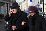 "Pic shows: Twiggy with Husband Leigh Lawson<br /> <br /> <br /> Funeral of Roger Lloyd-Pack - ""Trigger"" from Only Fools and Horses.<br /> <br /> Mourners arriving at the service at Actors Church in Covent Garden -<br /> <br /> <br /> <br /> <br /> Pic by Gavin Rodgers/Pixel 8000 Ltd"