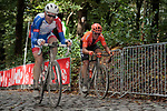 Stefan Küng (SUI) Groupama-FDJ and Matteo Trentin (ITA) CCC Team on the third ascent of the Kemmelberg during the 82nd edition of Gent-Wevelgem 2020 running 232km from Ypres to Wevelgem, Belgium. 11th October 2020.  <br /> Picture: Colin Flockton   Cyclefile<br /> <br /> All photos usage must carry mandatory copyright credit (© Cyclefile   Colin Flockton)