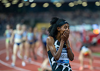 10th June 2021; Stadio Luigi Ridolfi, Florence, Tuscany, Italy; Muller Diamond League Grand Prix Athletics, Florence andRome; Sifan Hassan looks in shock as she wins the 1500m and the rest of the field cross the line in the background