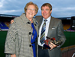 Jeanfield 208 St Johnstone Supporters Club George Gordon Clubman of the Year Award to Geoff Brown presented by Gert Gordon..Picture by Graeme Hart..Copyright Perthshire Picture Agency.Tel: 01738 623350  Mobile: 07990 594431
