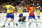 Spain's Viran Morros de Argila (b) and Bosnia Herzegovina's Senjamin Buric (l), Mirsad Terzic (c) and Nikola Prce during 2018 Men's European Championship Qualification 2 match. November 2,2016. (ALTERPHOTOS/Acero)