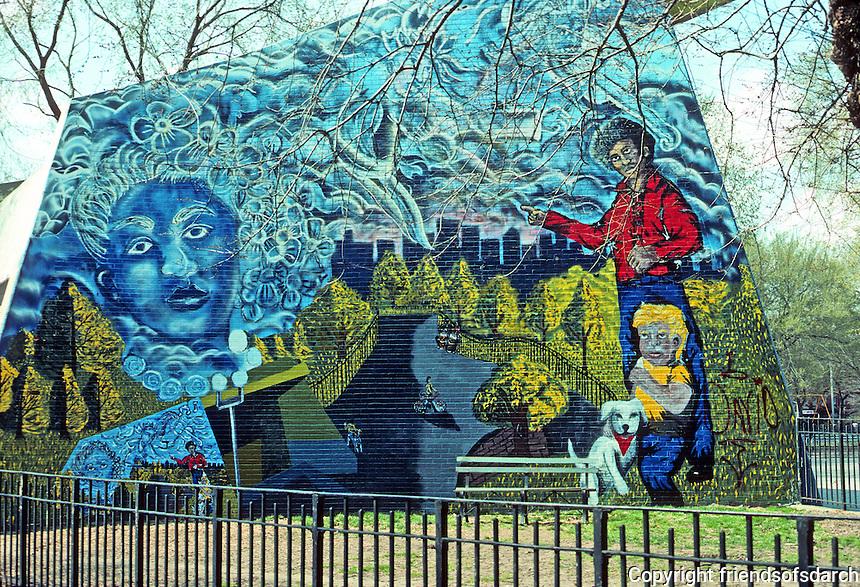 New York City: Lower East side--Park mural, 7-8 St., Ave. B-C.  Photo '78.