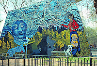 New York City: Lower East side--Park mural, 7-8 St., Ave. B-C.  Photo '78.