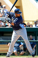 Tampa Bay Rays catcher Jose Molina #28 during a Spring Training game against the Detroit Tigers at Joker Marchant Stadium on March 29, 2013 in Lakeland, Florida.  (Mike Janes/Four Seam Images)