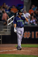Vermont Lake Monsters Yerdel Vargas (2) at bat during a NY-Penn League game against the Aberdeen IronBirds on August 19, 2019 at Leidos Field at Ripken Stadium in Aberdeen, Maryland.  Aberdeen defeated Vermont 6-2.  (Mike Janes/Four Seam Images)