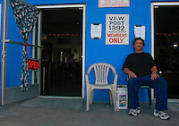 """Doyle Mitchell sits in front of VFW Post 1392 in Ocean Beach, Saturday July 12 2008.  Mitchell, who is Quarter-Master for the Post said that the post donated $750 worth of clothes to this weekends """"Stand Down"""" for homeless veterans at Balboa Park."""