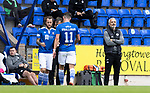 St Johnstone v St Mirren……29.08.20   McDiarmid Park  SPFL<br />Stevie May replaces Michael O'Halloran<br />Picture by Graeme Hart.<br />Copyright Perthshire Picture Agency<br />Tel: 01738 623350  Mobile: 07990 594431