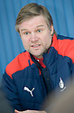 FALKIRK MANAGER STEVEN PRESSLEY AT THE PRESS CONFERENCE AT THE TEAM'S TRAINING GROUND AT STIRLING UNIVERSITY