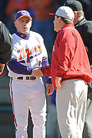 Jack Leggett (Head Coach) Clemson Tigers shakes hands with Ray Tanner (Head Coach) South Carolina Gamecocks (Photo by Tony Farlow/Four Seam Images)