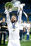 Real Madrid's Daniel Carvajal celebrates the victory in the UEFA Champions League 2015/2016 Final match.May 28,2016. (ALTERPHOTOS/Acero)