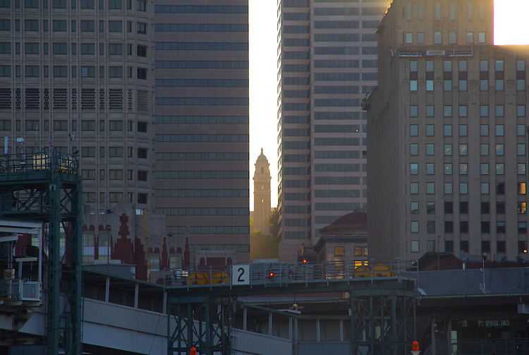 Seattle, skyline, St James Cathedral, from the water, Elliott Bay, Puget Sound, Port of Seattle, Washington State,  sunrise, scenic,