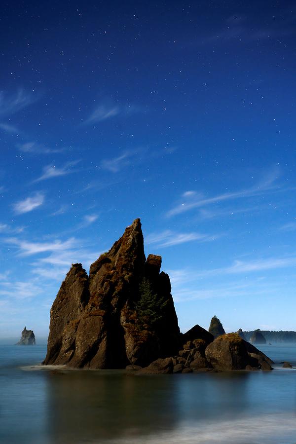 Moonlit sea stack on Washington Coast under starry sky, near Toleak Point, Olympic National Park, Washington, USA