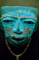 Turquoise stone masaic maya mask in   Mexico. Museum of Antropology