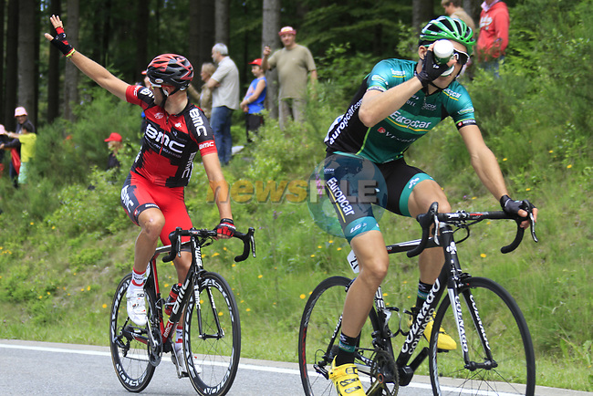 Stephen Cummings (GBR) BMC Racing Team asks for the team car at the tail end of the peloton as they climb the Cote de Francorchamps during Stage 1 of the 99th edition of the Tour de France, running 198km from Liege to Seraing, Belgium. 1st July 2012.<br /> (Photo by Eoin Clarke/NEWSFILE)