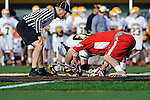 Baltimore, MD - March 3: Face-off during the Fairfield v UMBC mens lacrosse game at UMBC Stadium on March 3, 2012 in Baltimore, MD.
