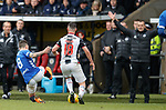 03.11.2018: St Mirren v Rangers: Ryan Jack about to tackle Danny Mullen