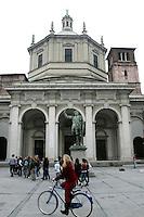 Veduta esterna della Basilica di San Lorenzo Maggiore, con la sua cupola ottagonale, a Milano. <br /> Exterior view of San Lorenzo Maggiore's Basilica, with its octagonal dome, in Milan.<br /> UPDATE IMAGES PRESS/Riccardo De Luca