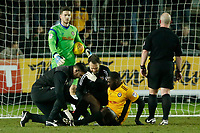Frank Nouble of Newport County receives treatment during the Sky Bet League Two match between Newport County and Crawley Town at Rodney Parade, Newport, Wales, UK. 19 January 2018