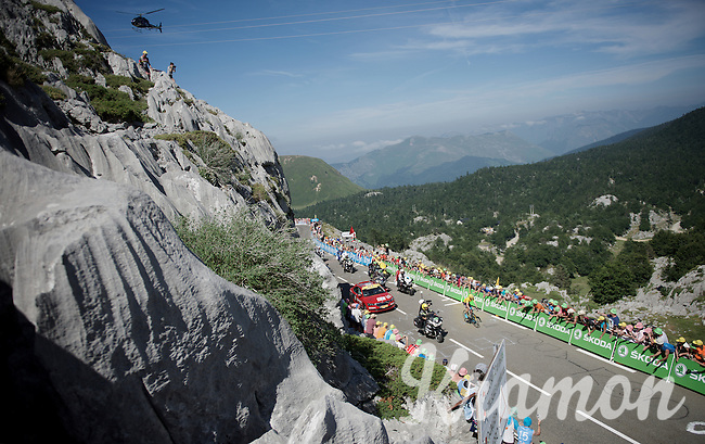 Chris Froome (GBR/SKY) solo up the Col de Soudet (HC/1610m/15.3km/7.4%) as the race/stage-leader 350m from the finish. <br /> He already delivers a knock-out blow to his closest competitors in this first mountain stage.<br /> <br /> stage 10: Tarbes - La Pierre-Saint-Martin (167km)<br /> 2015 Tour de France