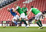 St Johnstone v Hibs…22.05.21  Scottish Cup Final Hampden Park<br />Ryan Porteous sends Chris Kane flying<br />Picture by Graeme Hart.<br />Copyright Perthshire Picture Agency<br />Tel: 01738 623350  Mobile: 07990 594431