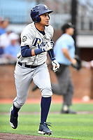 Princeton Rays first baseman Carlos Vargas (25) runs to first base during a game against the Johnson City Cardinals at TVA Credit Union Ballpark on August 9, 2018 in Johnson City, Tennessee. The Rays defeated the Cardinals 10-2. (Tony Farlow/Four Seam Images)