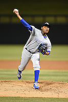 Peoria Javelinas pitcher Miguel Almonte (19) during an Arizona Fall League game against the Salt River Rafters on October 17, 2014 at Salt River Fields at Talking Stick in Scottsdale, Arizona.  The game ended in a 3-3 tie.  (Mike Janes/Four Seam Images)