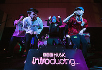 08 APR 2016 - STOWMARKET, GBR - Muckaniks (second from the left), Rye Shabby (right) and members of the Indigo Frequency label, perform during a recording for BBC Introducing at the John Peel Centre for Creative Arts in Stowmarket, Suffolk, Great Britain (PHOTO COPYRIGHT © 2016 NIGEL FARROW, ALL RIGHTS RESERVED)