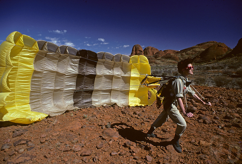 Parachute and Girl at the Olgas, Central Australia, Uluru National Park.