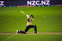 NZ's Devon Conway hits a six during the third international men's T20 cricket match between the New Zealand Black Caps and Australia at Sky Stadium in Wellington, New Zealand on Wednesday, 3 March 2021. Photo: Dave Lintott / lintottphoto.co.nz