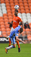 Blackpool's Michael Nottingham battles with Barrow's Scott Quigley<br /> <br /> Photographer Dave Howarth/CameraSport<br /> <br /> EFL Trophy Northern Section Group G - Blackpool v Barrow - Tuesday 8th September 2020 - Bloomfield Road - Blackpool<br />  <br /> World Copyright © 2020 CameraSport. All rights reserved. 43 Linden Ave. Countesthorpe. Leicester. England. LE8 5PG - Tel: +44 (0) 116 277 4147 - admin@camerasport.com - www.camerasport.com
