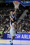 Real Madrid´s Sergio Llull and Anadolu Efes´s Milko Bjelica during 2014-15 Euroleague Basketball Playoffs match between Real Madrid and Anadolu Efes at Palacio de los Deportes stadium in Madrid, Spain. April 15, 2015. (ALTERPHOTOS/Luis Fernandez)