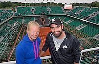 Paris, France, 03 June, 2016, Tennis, Roland Garros, semi finalist Kiki Bertens (NED) and her coach Raemon Sluiter (NED) on the roof of Philippe Chatrier Court<br /> Photo: Henk Koster/tennisimages.com