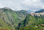 Italy, Calabria, near Cirella: mountain villages Grisolia (left) and Maiera (right)