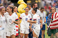 LYON, FRANCE - JULY 07: Carli Lloyd and Ali Krieger during a game between Netherlands and USWNT at Stade de Lyon on July 07, 2019 in Lyon, France.