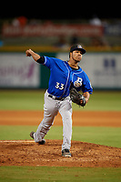 Biloxi Shuckers relief pitcher Nattino Diplan (33) during a Southern League game against the Pensacola Blue Wahoos on May 3, 2019 at Admiral Fetterman Field in Pensacola, Florida.  Pensacola defeated Biloxi 10-8.  (Mike Janes/Four Seam Images)