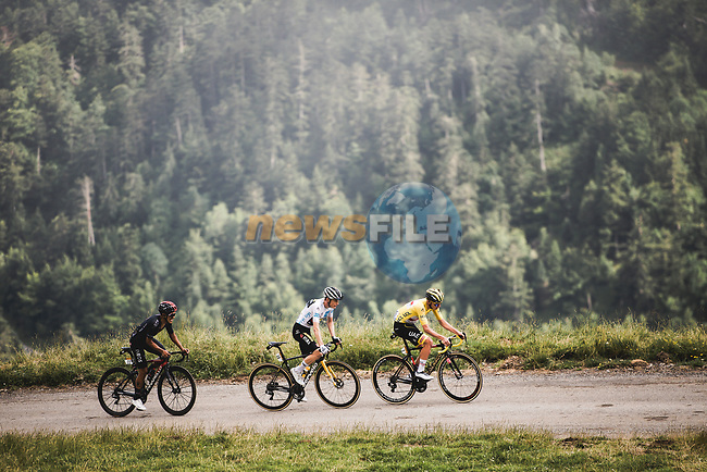The leaders Yellow Jersey Tadej Pogacar (SLO) UAE Team Emirates, White Jersey Jonas Vingegaard (DEN) Jumbo-Visma, and Richard Carapaz (ECU) Ineos Grenadiers during Stage 17 of the 2021 Tour de France, running 178.4km from Muret to Saint-Lary-Soulan Col du Portet, France. 14th July 2021.  <br /> Picture: A.S.O./Pauline Ballet | Cyclefile<br /> <br /> All photos usage must carry mandatory copyright credit (© Cyclefile | A.S.O./Pauline Ballet)