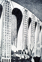Charles L. Morgan:  Projected Skyscraper Bridge for Chicago, 1928.  THE ARCHITECTURE OF FANTASY, p. 21.  Photo '77.