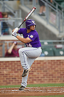 LSU Tigers third baseman Christian Ibarra (14) at bat against the Texas A&M Aggies in the NCAA Southeastern Conference baseball game on May 10, 2013 at Blue Bell Park in College Station, Texas. LSU defeated Texas A&M 7-4. (Andrew Woolley/Four Seam Images).