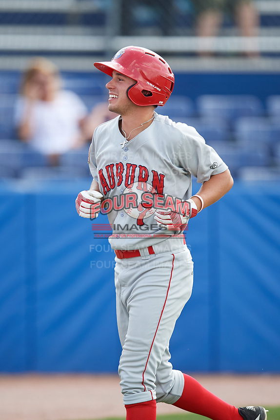 Auburn Doubledays third baseman Cole Daily (7) returns to the dugout after hitting a home run in the top of the ninth inning during a game against the Batavia Muckdogs on September 1, 2018 at Dwyer Stadium in Batavia, New York.  Auburn defeated Batavia 10-5.  (Mike Janes/Four Seam Images)