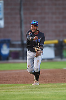 Missoula Osprey third baseman Jose Reyes (20) throws to first base during a Pioneer League game against the Idaho Falls Chukars at Melaleuca Field on August 20, 2019 in Idaho Falls, Idaho. Idaho Falls defeated Missoula 6-3. (Zachary Lucy/Four Seam Images)