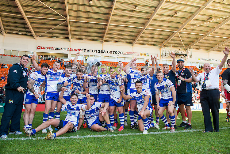 Picture by Allan McKenzie/SWpix.com - 23/05/2015 - Rugby League - Kingstone Press Championship Summer Bash - Workington v Whitehaven - Bloomfield Road, Blackpool, England - Workington celebrate victory over Whitehaven.