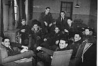 BNPS.co.uk (01202) 558833<br /> Pic: MarlowsAuctioneers/BNPS<br /> <br /> Pictured: Flight Lieutenant Maxwell Sparks (back row with moustache framed by door).<br /> <br /> The medals of a hero of the legendary Operation Jericho raid who dive-bombed the enemy from 10ft during a daring attack on a Gestapo prison have emerged for sale for £6,000.<br /> <br /> Flight Lieutenant Maxwell Sparks pulled off the daring manoeuvre during the daylight attack on the heavily-defended Amiens Prison in Northern France in February 1944.<br /> <br /> Positioned third in the attack's first wave, he flew at 'tree-top height' while bombarding the German guards' quarters, before ascending just in time to miss the prison's roof.