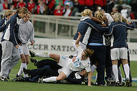 Heather O'Reilly and UNC celebrate winning the 2006 Women's College Cup.UNC-Chapel Hill vs Notre Dame in 2006 NCAA Women's College Cup at SAS Stadium in Cary, NC